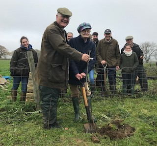 Babs Makes her Mark on Moreton Show Tree Planting